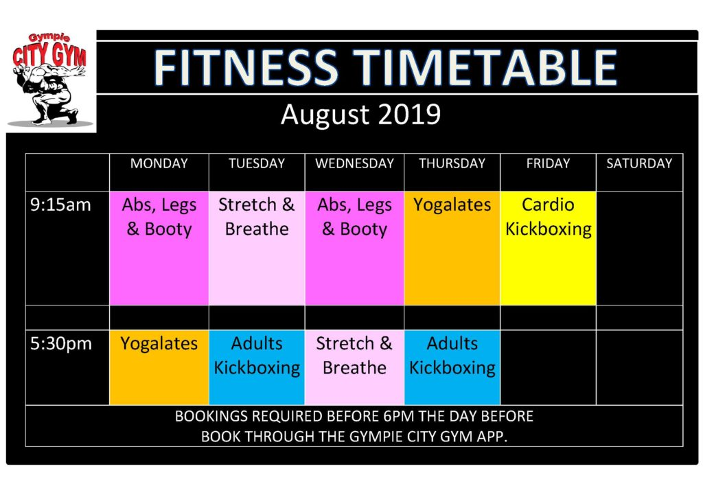 August Timetable 2019